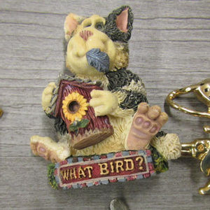 large 1980's vintage cat birdhouse pin brooch
